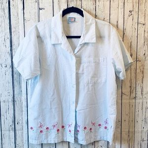 Vintage Moon Beams Embroidered Buttondown Blouse